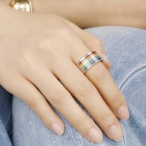Jewelry - Stainless Steel Wide Unisex Rainbow Pride Ring 11